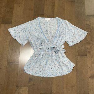 Floral tie waist blouse